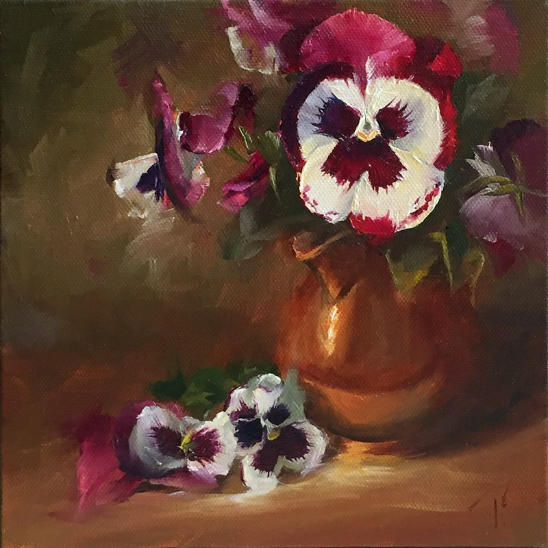 """Study of Pansies in Low Key"" original fine art by Lori Twiggs"