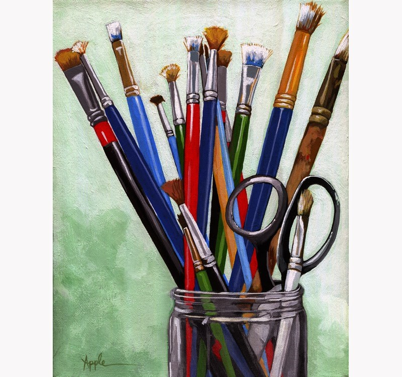 """Artists Brushes - realistic still life painting by Linda Apple"" original fine art by Linda Apple"