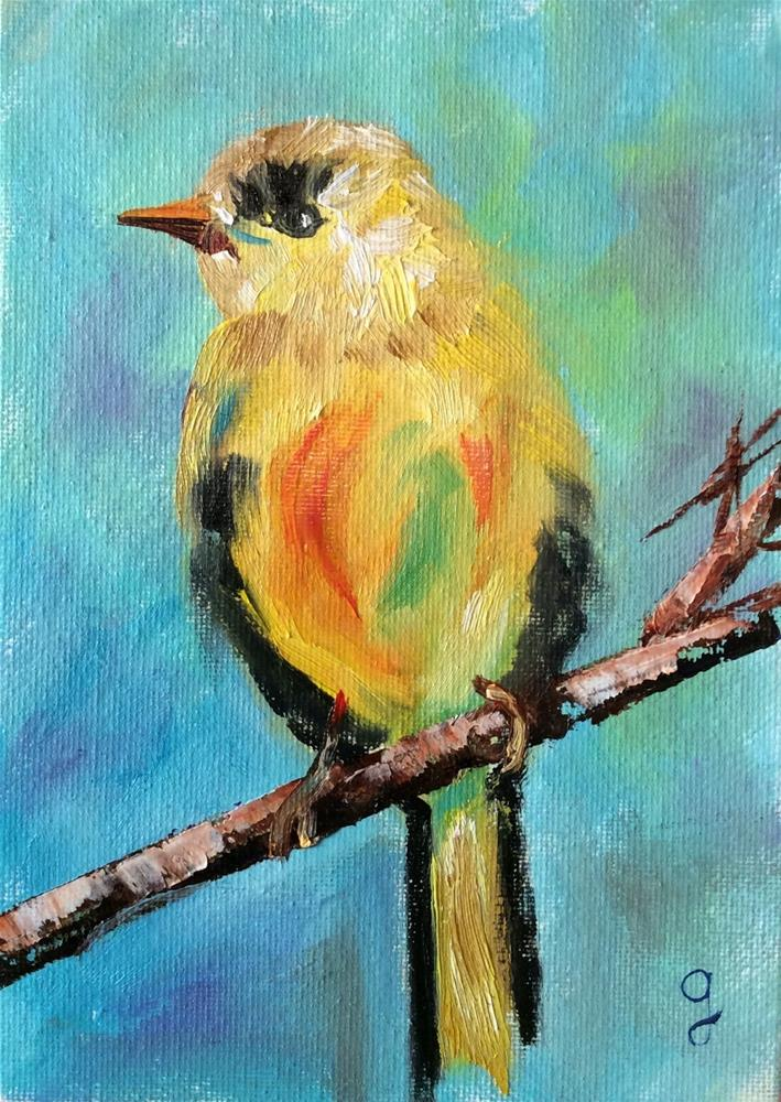 """Gold Finch"" original fine art by Gayle Lambeth"