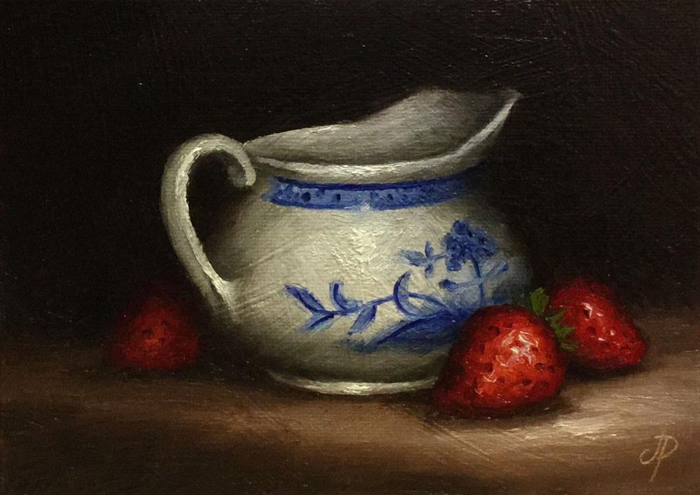 """Jug with Strawberries"" original fine art by Jane Palmer"