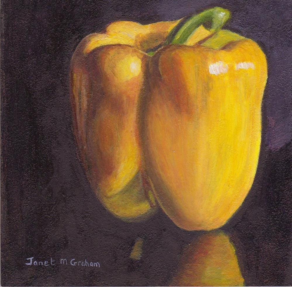 """Yellow Pepper"" original fine art by Janet Graham"