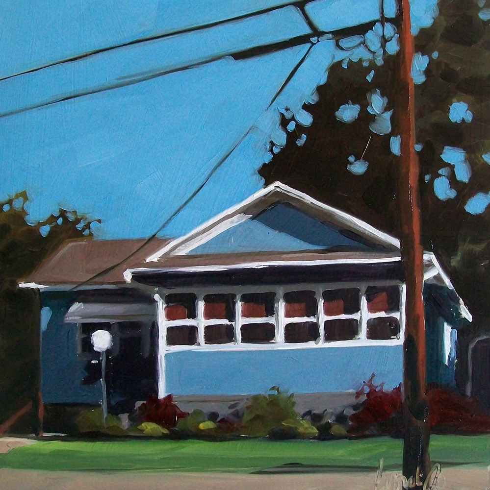 """Blue house"" original fine art by Brandi Bowman"
