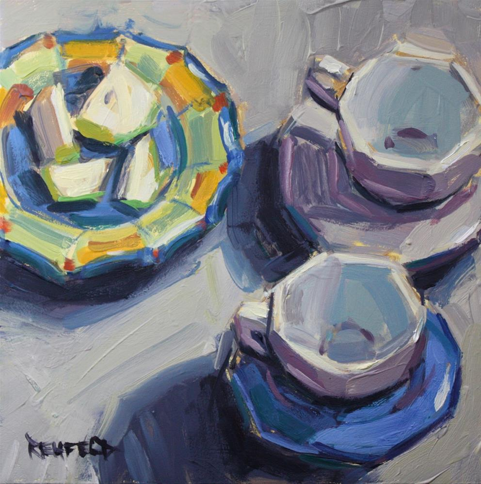 """""""Italian Plate with Apples and Cups"""" original fine art by Cathleen Rehfeld"""