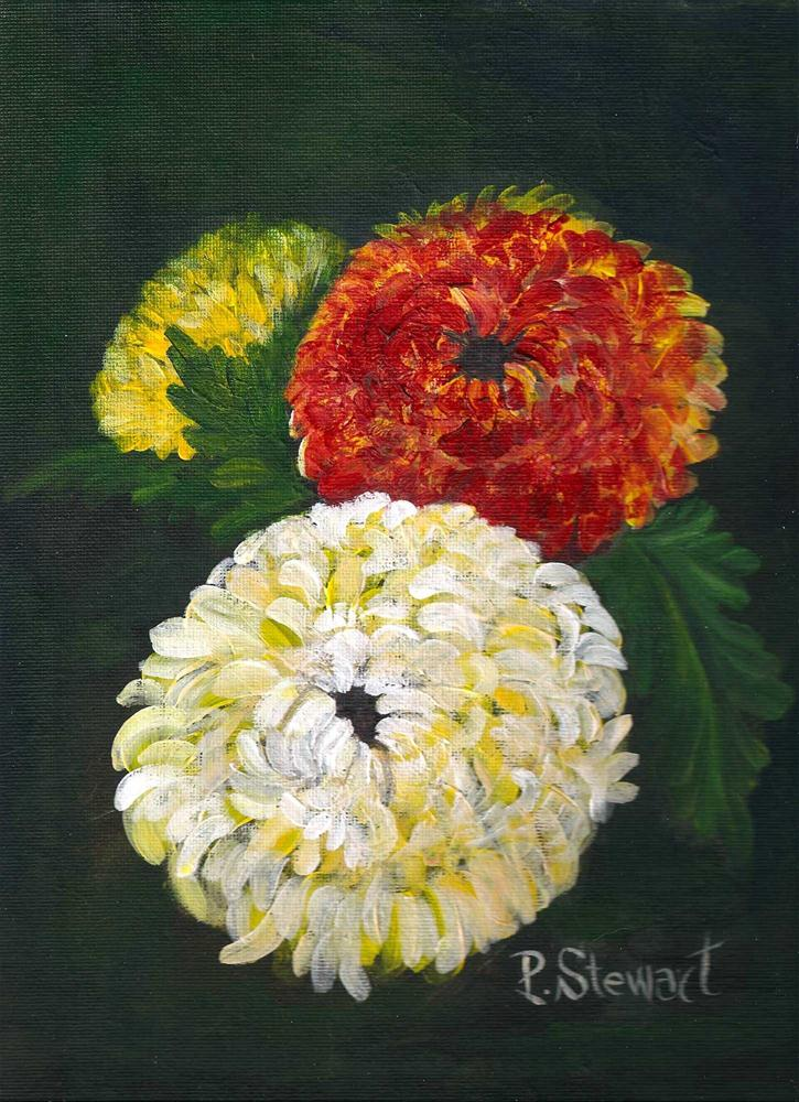 """9x12, Acrylic Floral Painting, 3 mums, Realistic Style"" original fine art by Penny Lee StewArt"