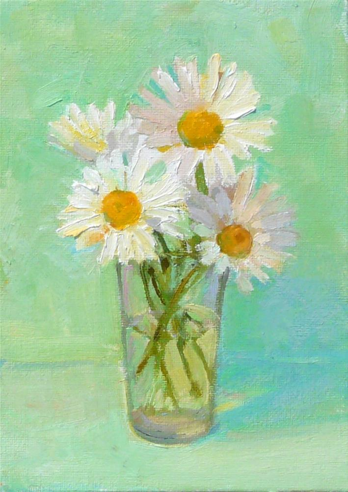 """Glass of Daisies,still life,oil on canvas,7x5,price$125"" original fine art by Joy Olney"