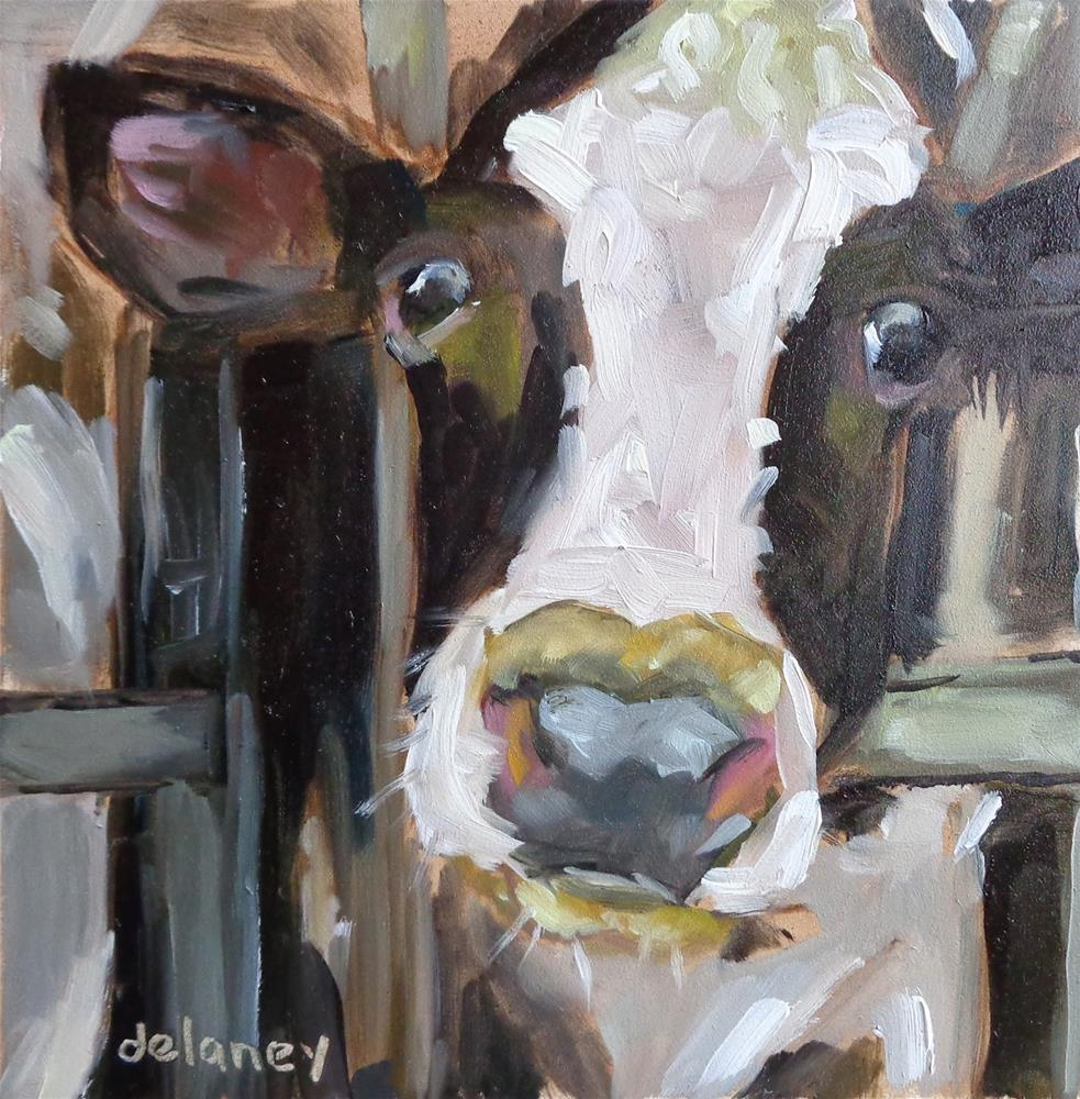 """Cow 89LUNCH TIME"" original fine art by Jean Delaney"