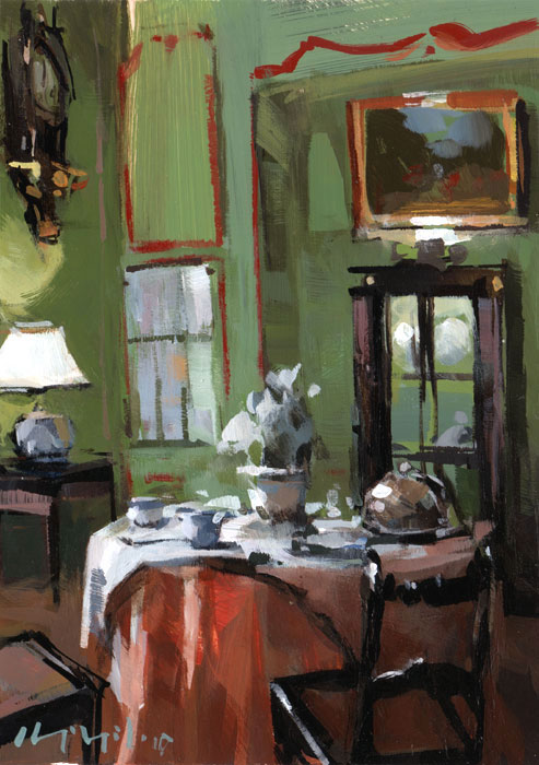 """Set Table in a Green Paneled Room"" original fine art by David Lloyd"
