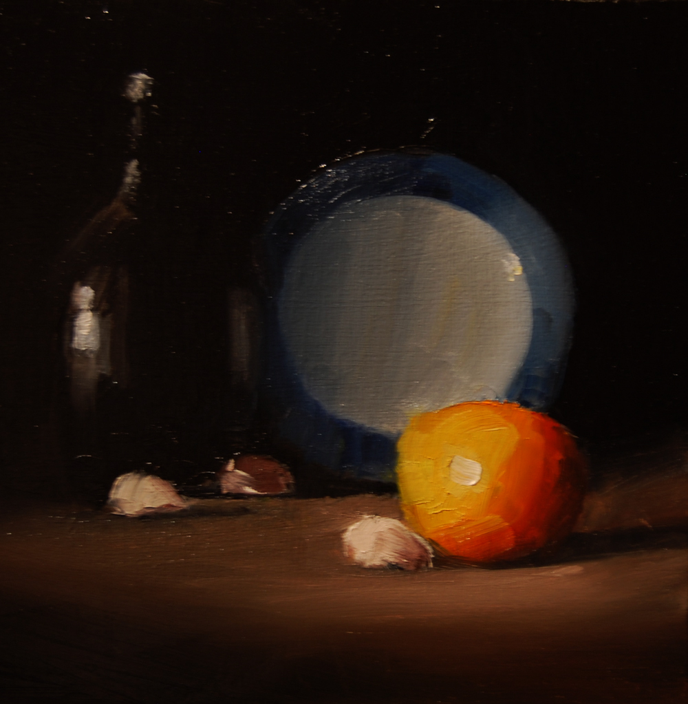"""Clementine with Bottle and Plate"" original fine art by Neil Carroll"