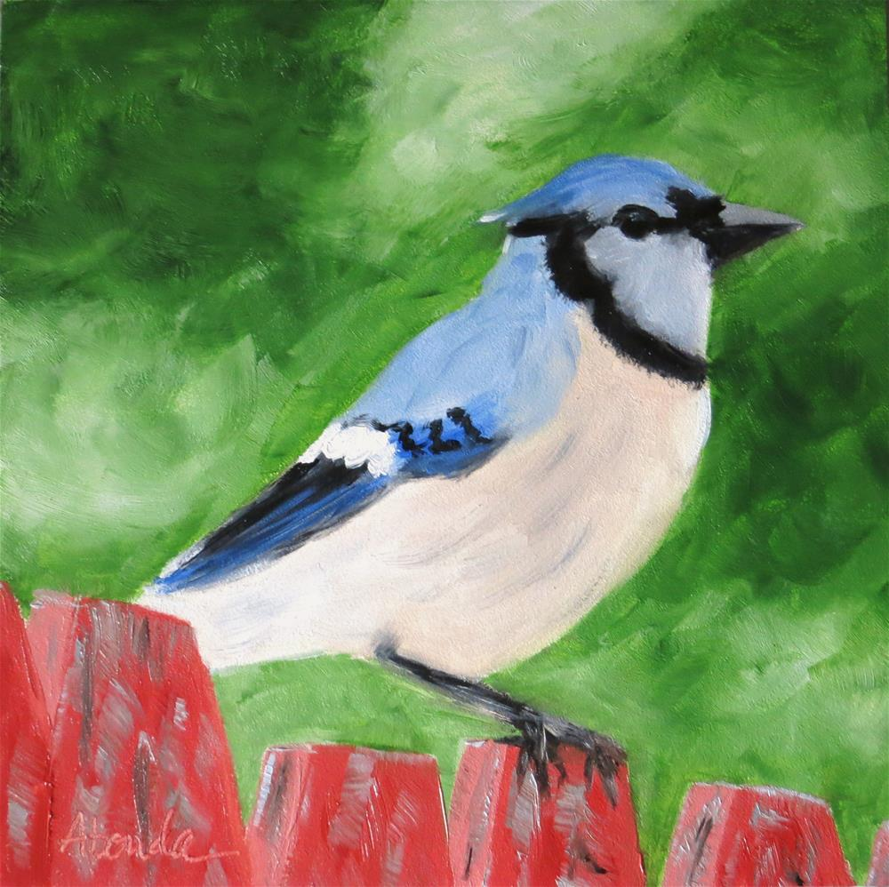 """Bluejay on the Fence"" original fine art by Sandy Abouda"