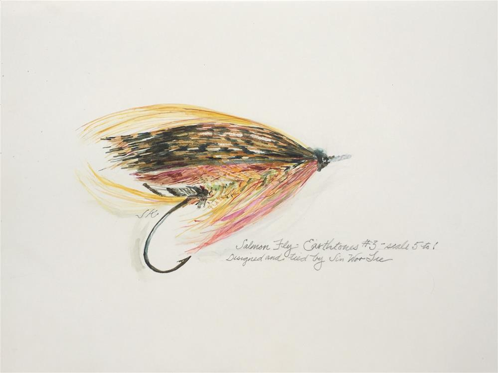 """Salmon Fly, Earthtones #3, Jin Woo Lee"" original fine art by Jean Krueger"