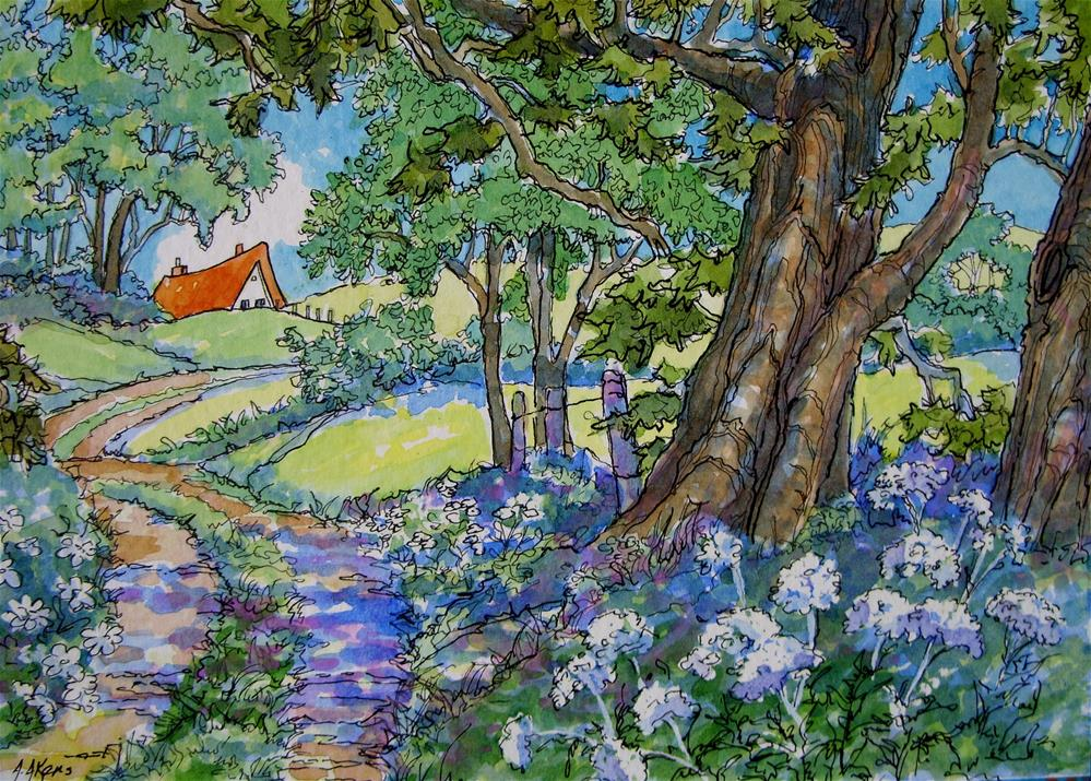 """At the End of the Lane Storybook Cottage Series"" original fine art by Alida Akers"