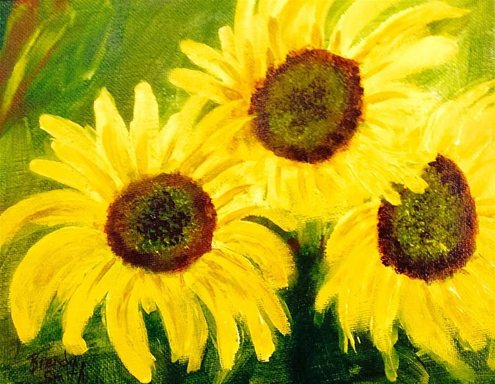 """Three Sunflowers"" original fine art by Brenda Smith"