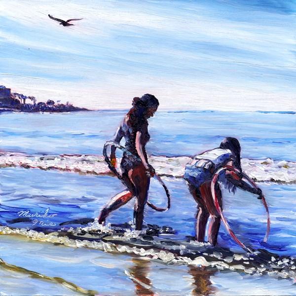 """Hula-hoops Girls at Beach"" original fine art by Mariko Irie"
