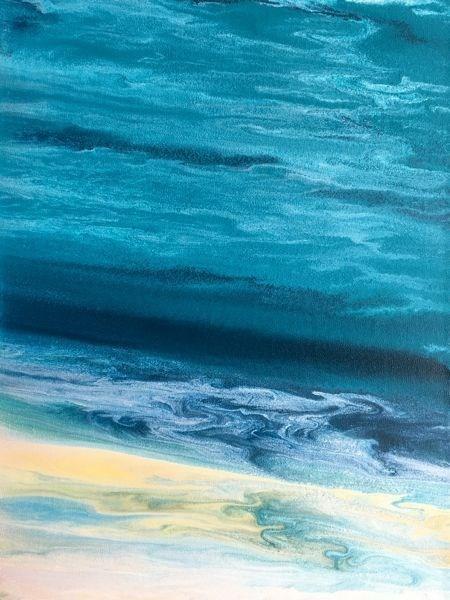 """Contemporary Abstract Seascape, Beach Painting, Fine Art, Coastal Tropical Wave VI  by Internation"" original fine art by Kimberly Conrad"