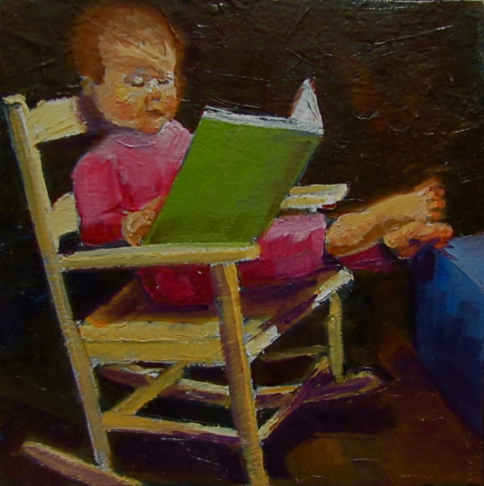 """The Reader  6x6 oil"" original fine art by Christine Holzschuh"