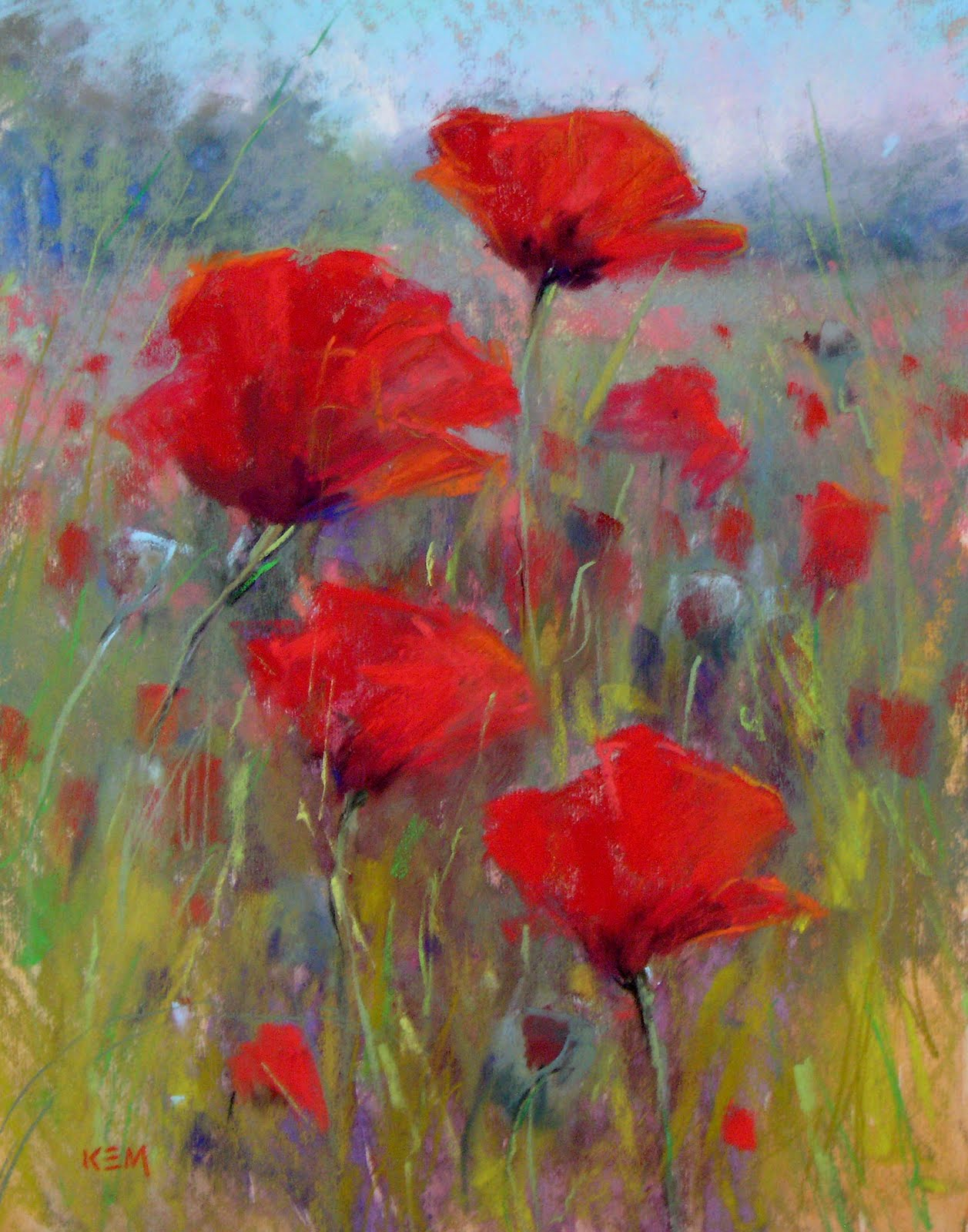 """Field of Red Poppies   11x14  pastel"" original fine art by Karen Margulis"