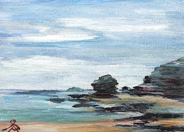 """3065 - DRAMATIC COAST - ACEO Series"" original fine art by Sea Dean"