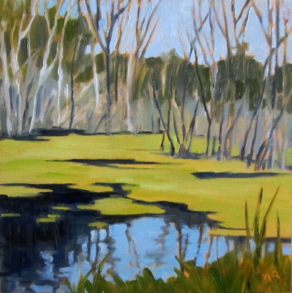 """Pea Soup Swamp"" original fine art by Nicki Ault"