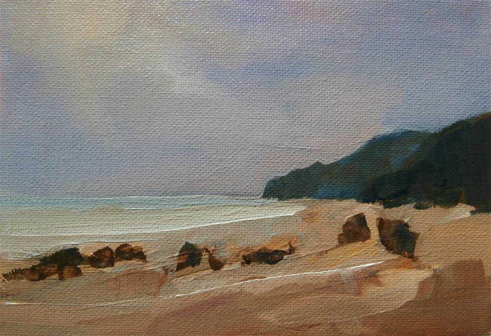 """Reighton Sands"" original fine art by Anne Wood"