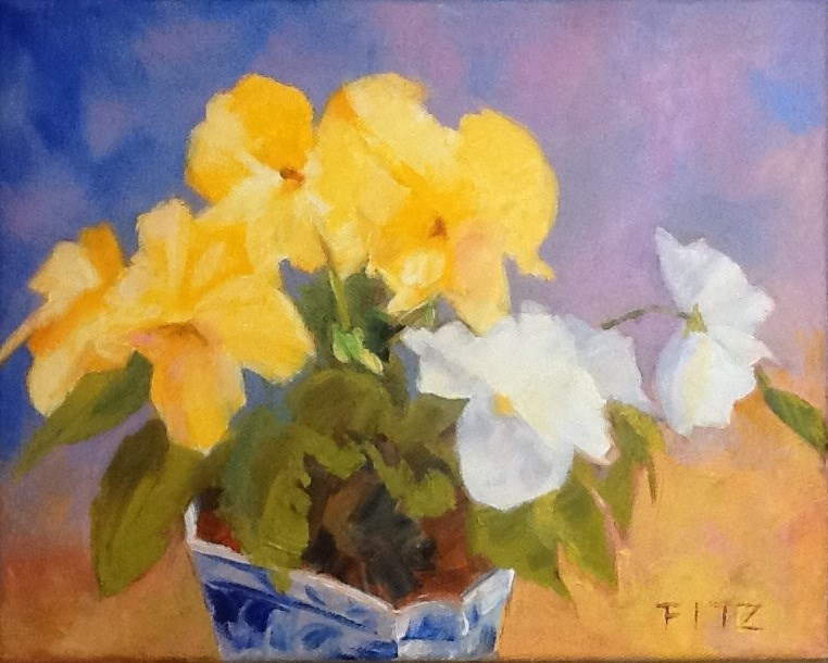 """Yellow and White Pansies"" original fine art by Jean Fitzgerald"