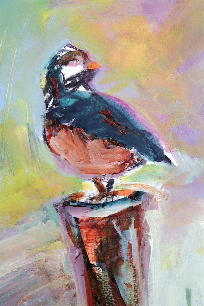 """The Robin Stand"" original fine art by Mary Schiros"