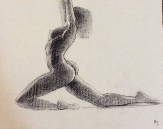 """Study of African-American female nude"" original fine art by Hilary J. England"