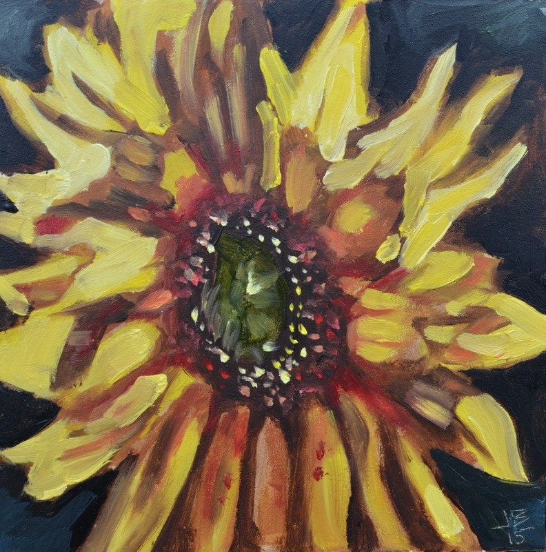 """""""Erupting Sunflower"""" original fine art by Jonathan Baker"""