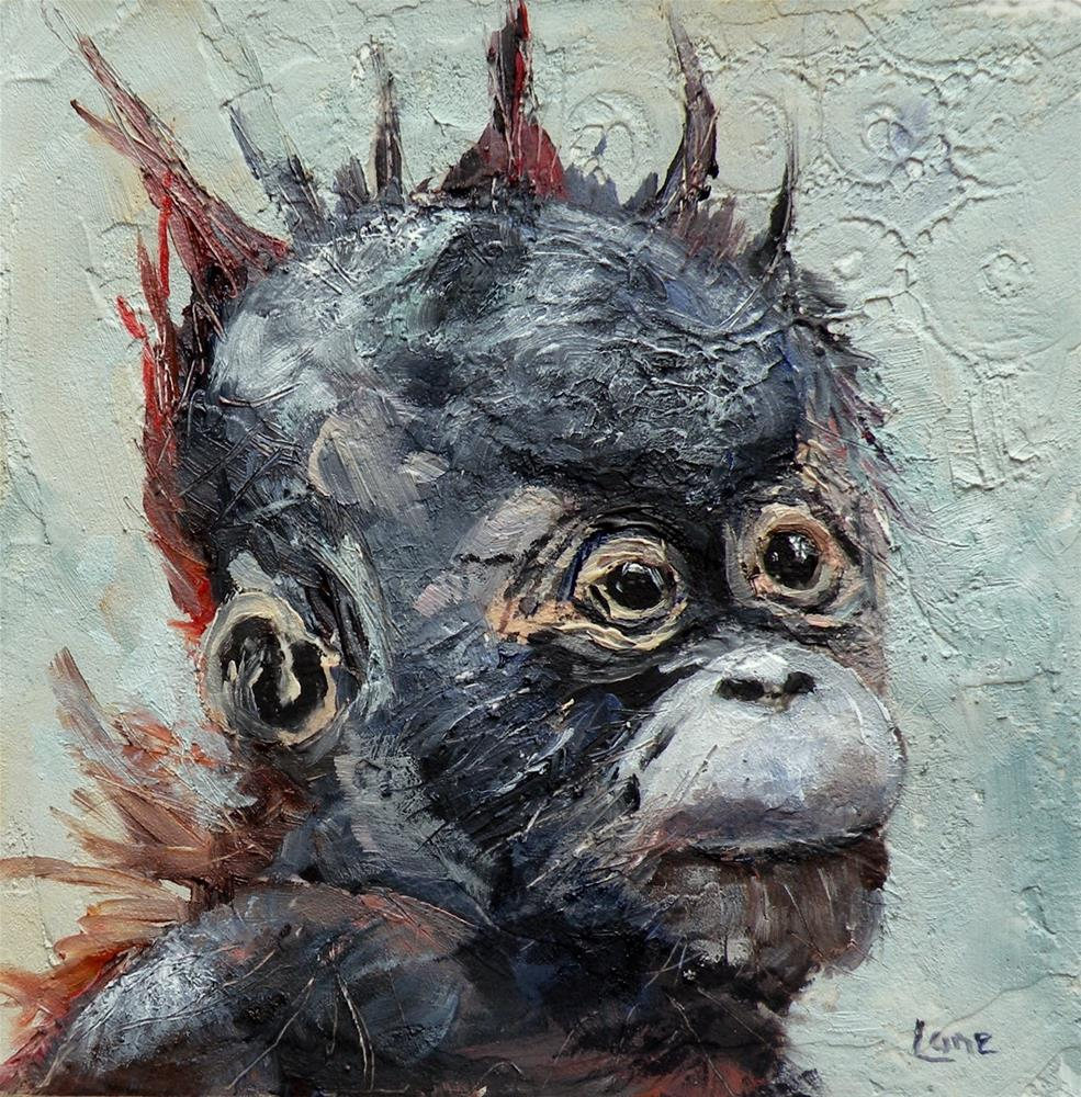 """BABY A AN ORANGUTAN © SAUNDRA LANE GALLOWAY"" original fine art by Saundra Lane Galloway"