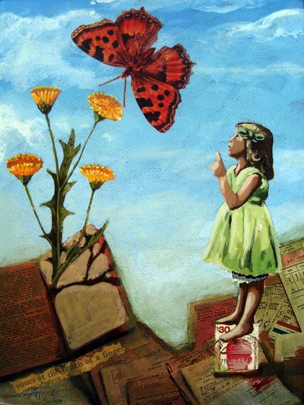 """Transformation - Butterfly & Little Girl vintage mixed media painting"" original fine art by Linda Apple"