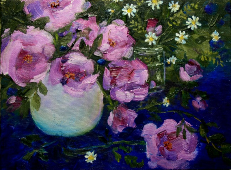 """Lavender Pink Roses"" original fine art by Jean Nelson"