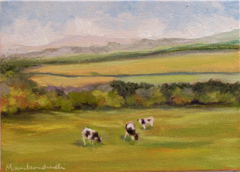"""Three Cows Grazing"" original fine art by Maria Levandowski"