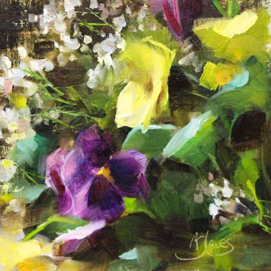"""Baby's Breath and Pansies"" original fine art by Pamela Blaies"