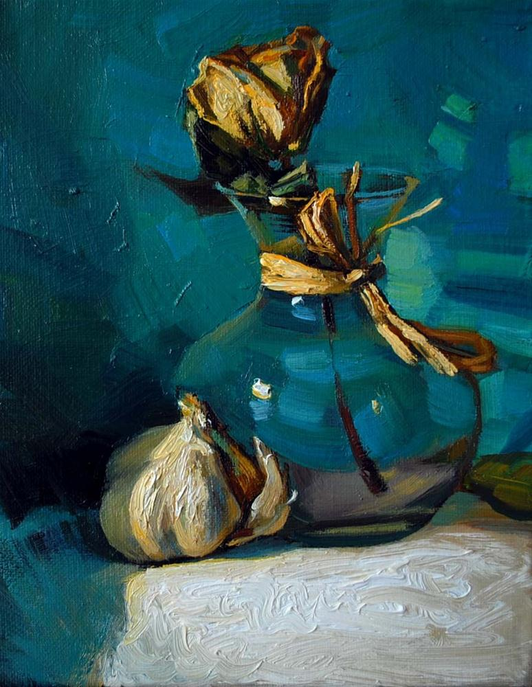 """Still life with Dry Rose"" original fine art by Elena Katsyura"