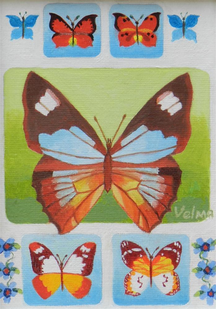 """Butterfly Group 2"" original fine art by Velma Davies"