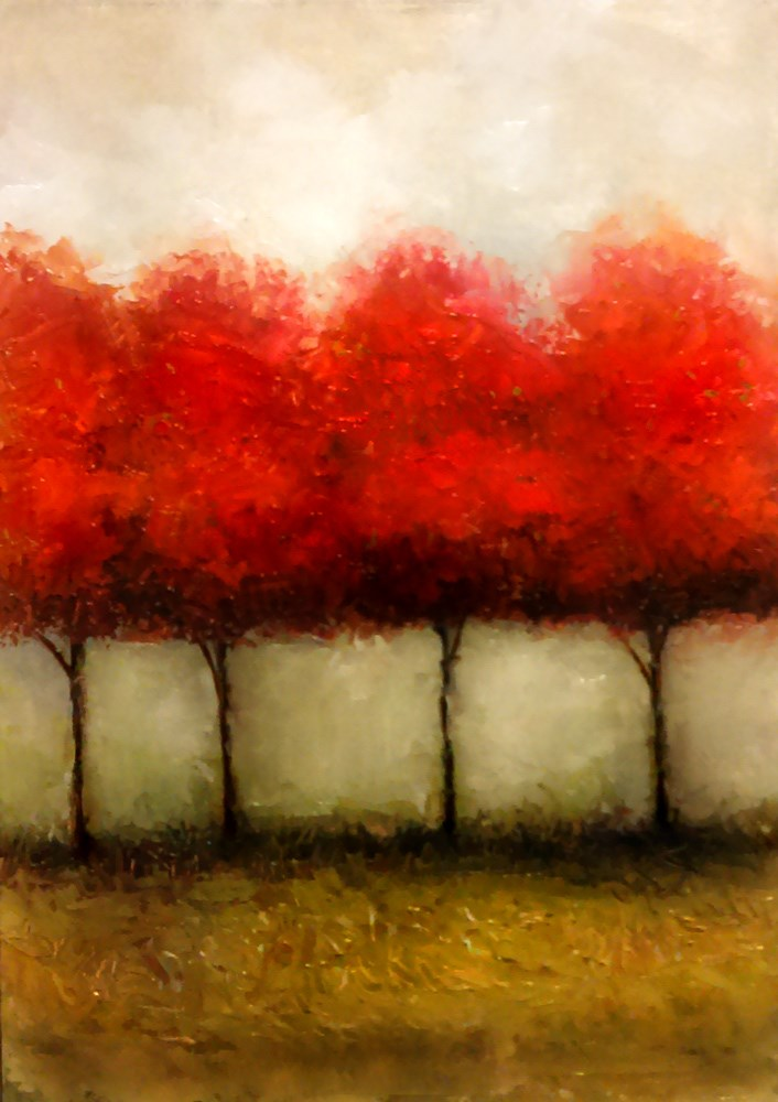 """Four Red Trees"" original fine art by Bob Kimball"