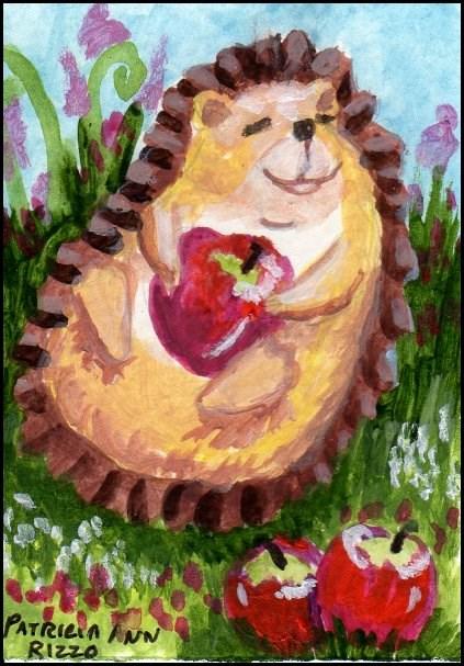 """Hedgehog and crab apples"" original fine art by Patricia Ann Rizzo"