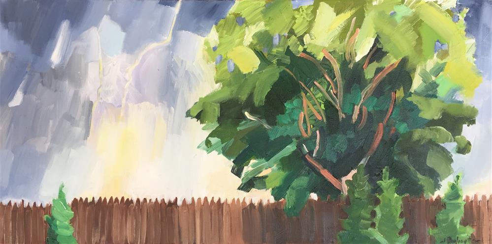 """Storm over the Fence"" original fine art by Jessie Dodington"