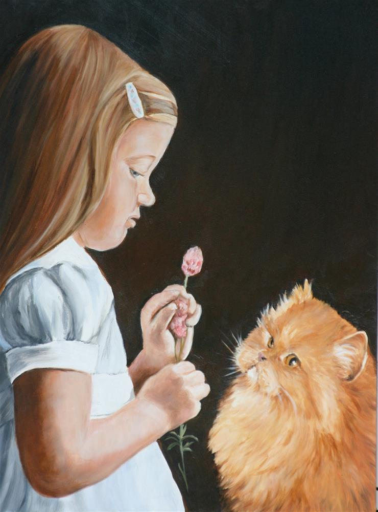 """Girl and Persian  Cat"" original fine art by Charlotte Yealey"