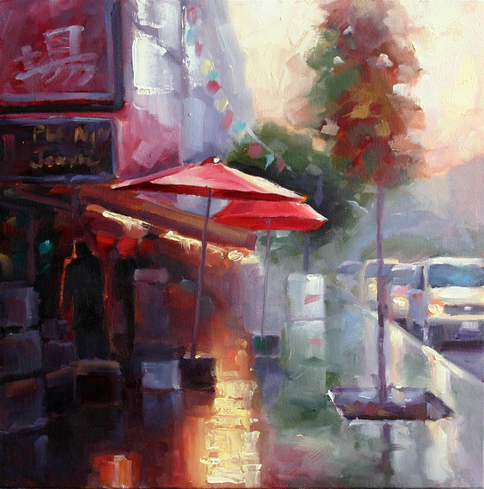 """Rain in Toronto's Chinatown"" original fine art by Catherine Jeffrey"