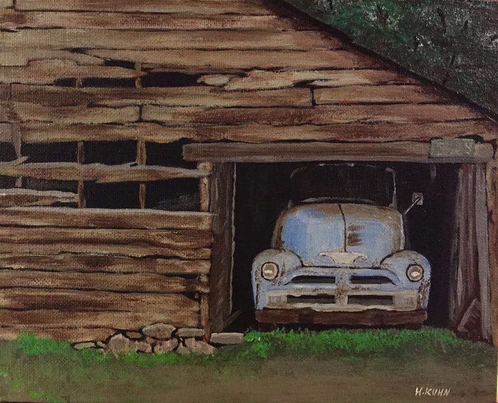 """Car Garage"" original fine art by Helen Kuhn"