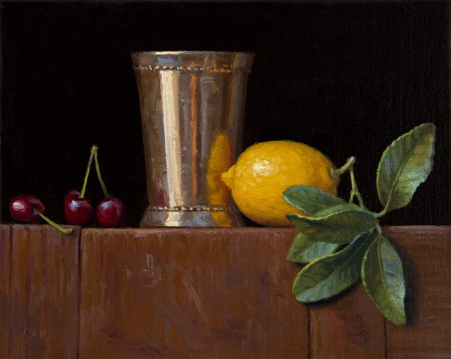 """Silver Cup, Cherries, and Lemon with Leaves (larger painting)  (+ Apple ending soon)"" original fine art by Abbey Ryan"