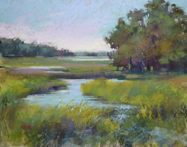 """My Favorite Foreground Technique ....Marshes"" original fine art by Karen Margulis"
