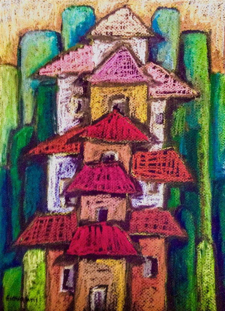 """Houses on the hill"" original fine art by Giovanni Antunez"
