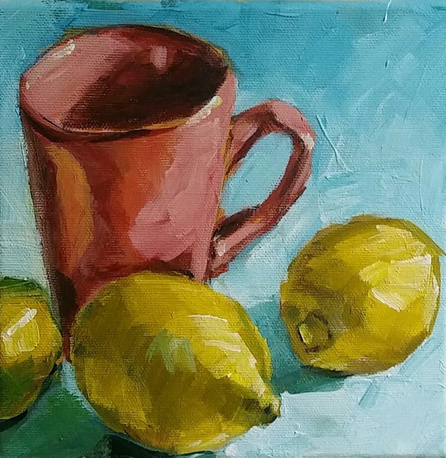 """Lemons with a teacup"" original fine art by Sabine Hüning"
