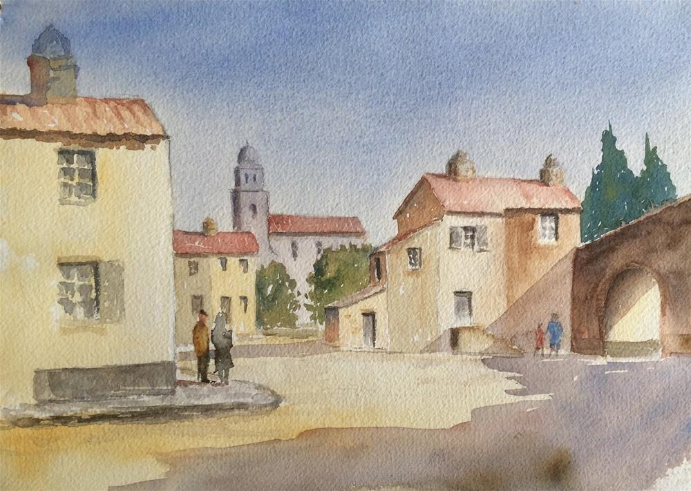 """""""The Square  French Village"""" original fine art by Peter Wellington"""