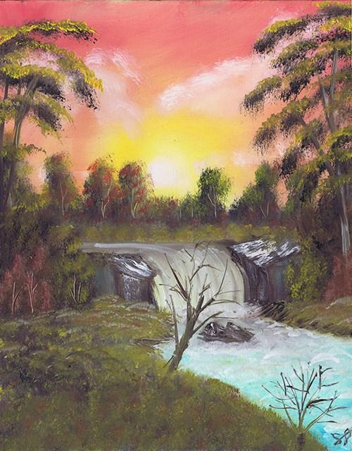"""Waterfall Sunrise Glow"" original fine art by Samara Doumnande"