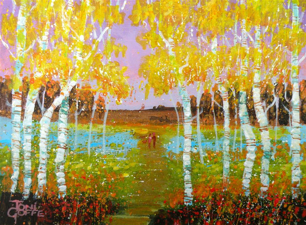 """Dog Walk"" original fine art by Toni Goffe"