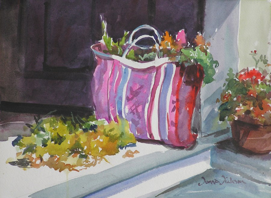"""BACK FROM THE MARKET"" original fine art by Donna Dickson"