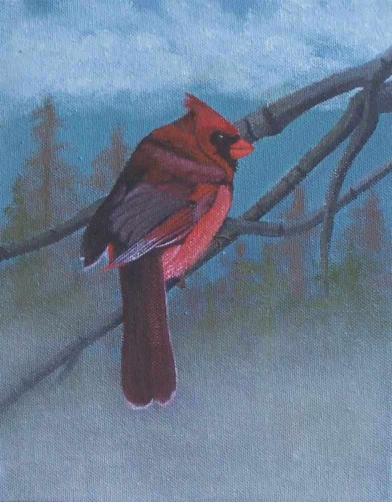 """Cardinal in the mist"" original fine art by John Marcum"