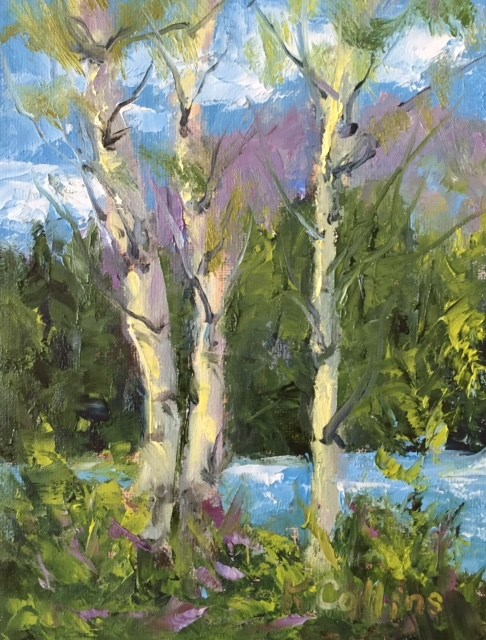 """Cottonwood Creek Aspens"" original fine art by Kathy Collins"